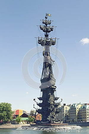 Peter The Great Statue By Zurab Tsereteli. Moscow Editorial Image.