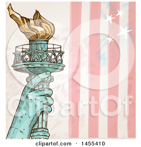 Clipart of a Sketched Statue of Liberty Hand Holding up a Torch.