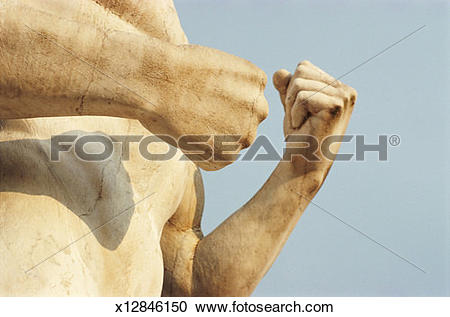 Stock Photography of Italy, Rome, Foro Italico, hands on statue of.