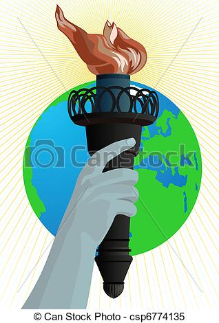 Clipart Vector of Statue of Liberty torch.