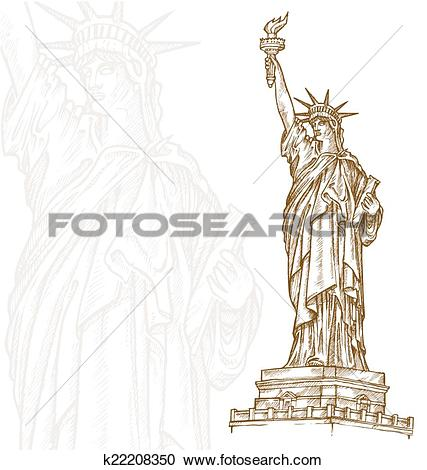 Clipart of statue of liberty hand draw k22208350.