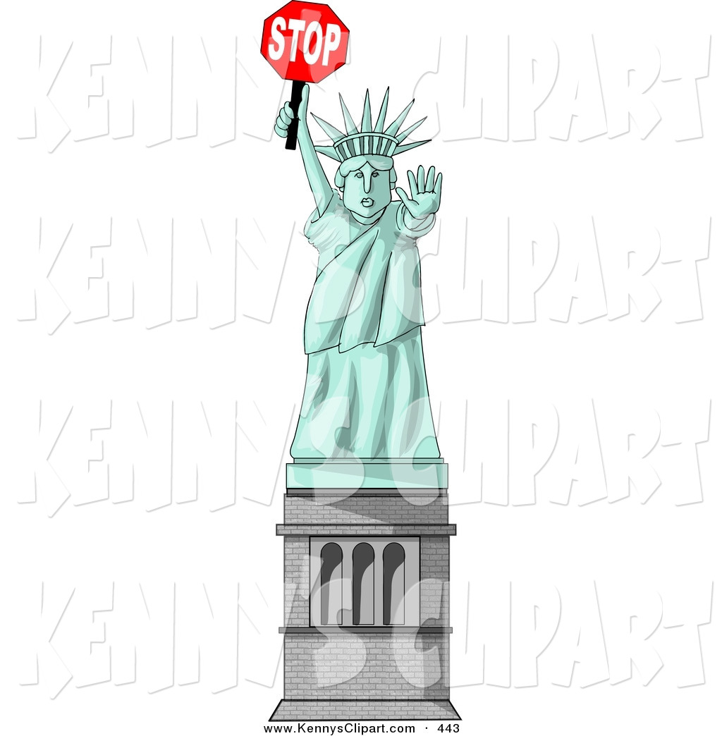 Clip Art of a Statue of Liberty Holding a Stop Sign and a Hand out.