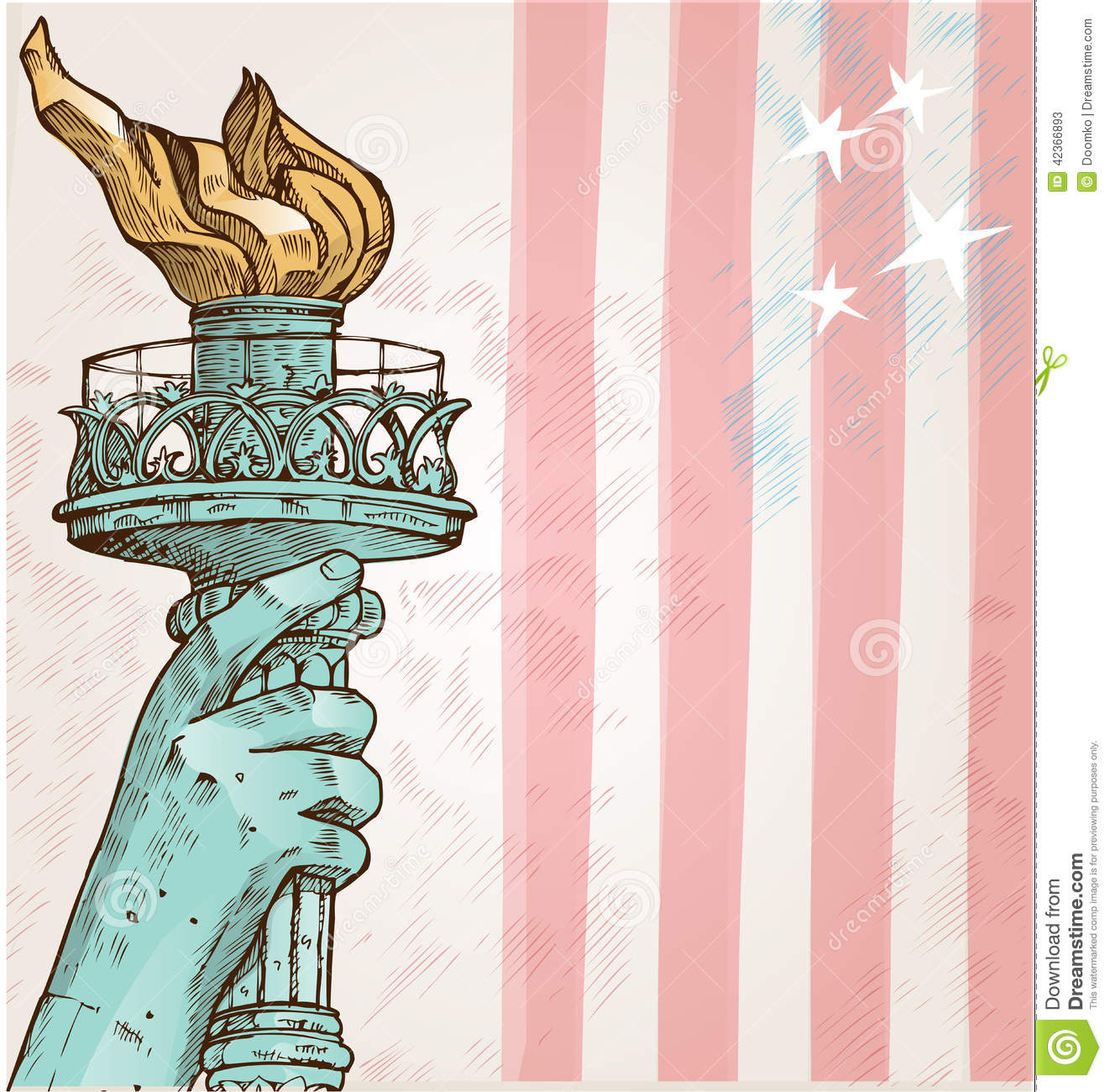 American flag and statue of liberty torch clipart.