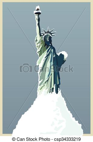 Vector Clip Art of vector hand drawing statue of liberty new york.