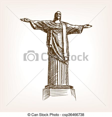 Vectors of Christ statue hand drawn sketch style vector.