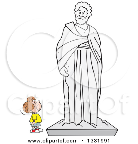 Clipart of a Stick Man Gazing at the Thinker Statue.