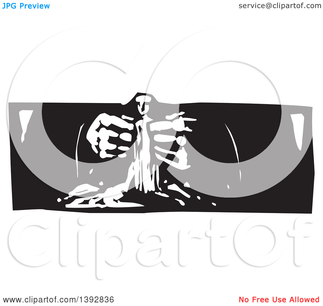 Clipart of a Black and White Woodcut God's Hands Creating a Statue.