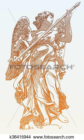 Clipart of original sketch digital drawing of marble statue angel.