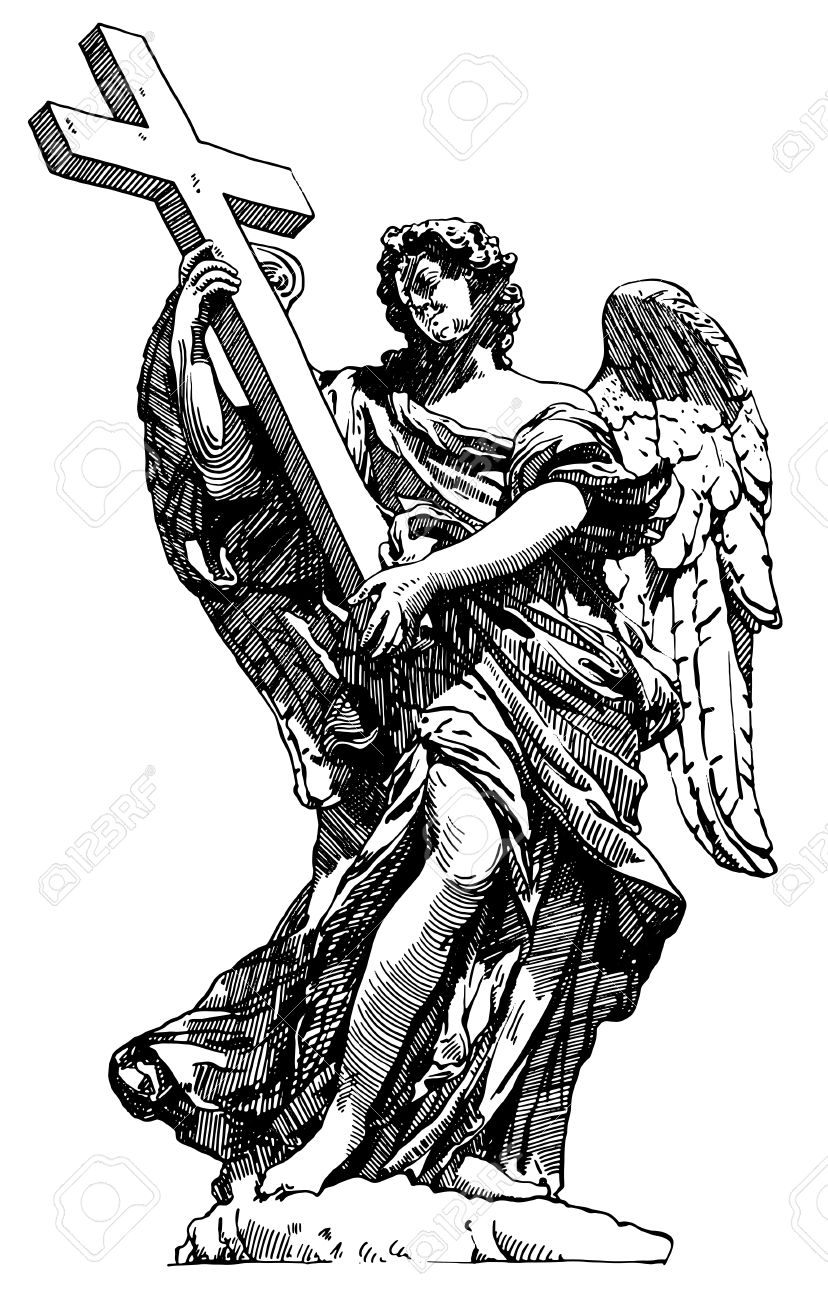 Original Sketch Digital Drawing Of Marble Statue Of Angel From.