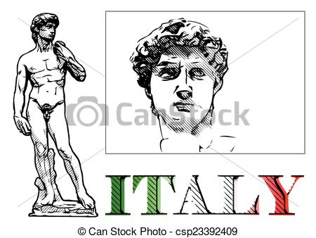 Vector Clipart of david statue illustration on white csp23392409.