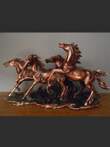 Three Running Horses Bronze Sculpture 3 Horses (S) Wild Horse FREE.