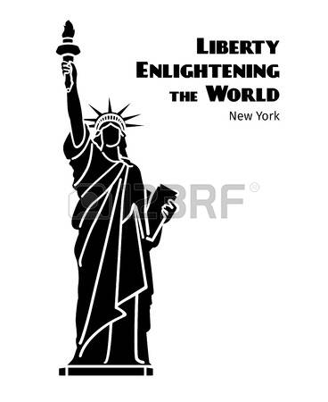 312 Statue Of Liberty Black And White Stock Illustrations.