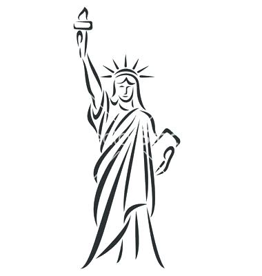 Statue Of Liberty Black And White Drawing.