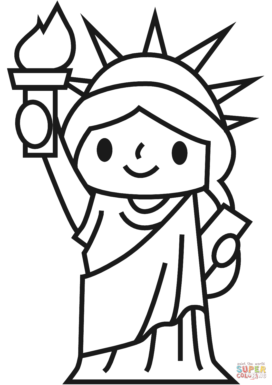 Simple Statue of Liberty coloring page.