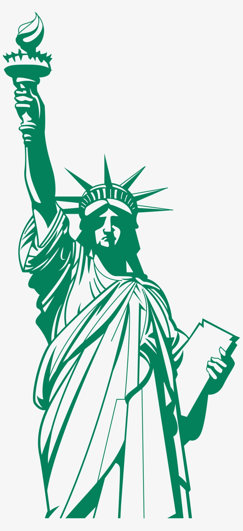 Statue Of Liberty Logo Png Graphic Black And White.
