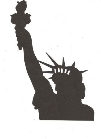 Bust of the Statue of Liberty silhouette.
