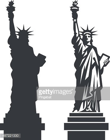 New York Statue of Liberty Vector silhouette Clipart Image.