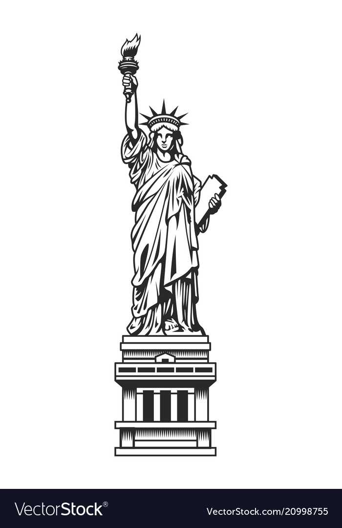 Vintage statue of liberty template.