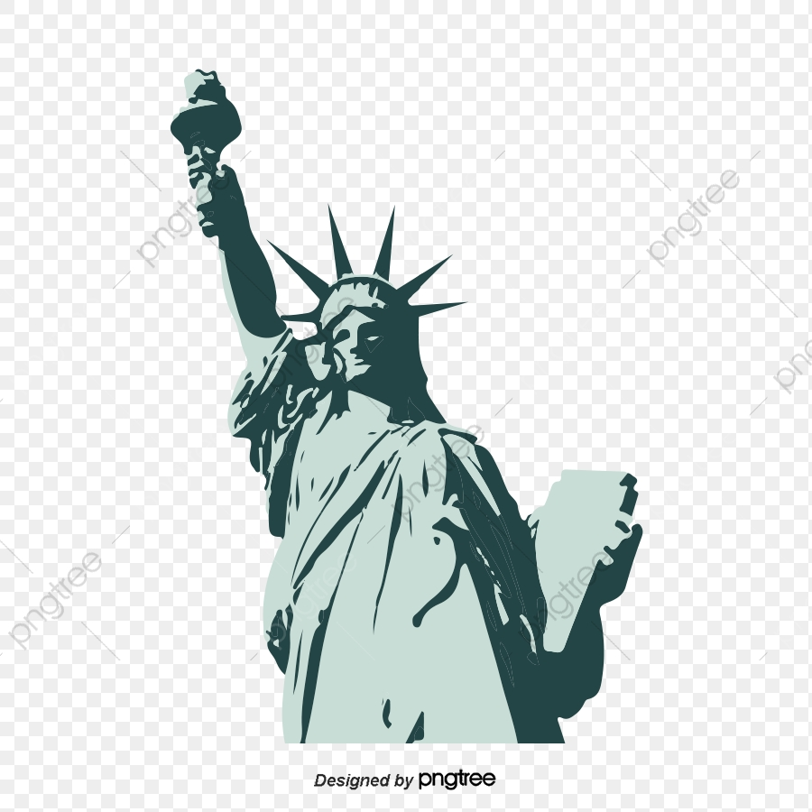 Statue Of Liberty Vector, Silhouette, Monochrome, Lovely PNG.