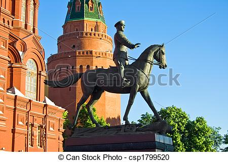 Stock Photography of Georgy Zhukov monument.