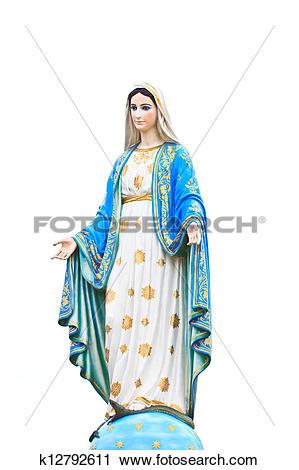 Stock Photography of Virgin Mary Statue in Roman Catholic Church.