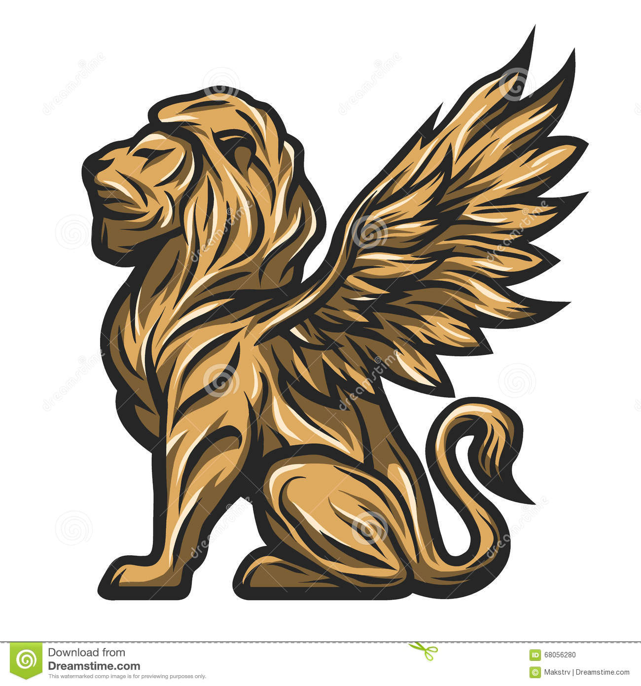 Golden Statue Of A Lion With Wings. Stock Vector.