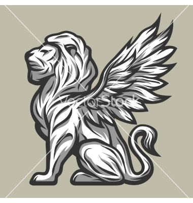 Lion statue with wings vector by MaksTRV.