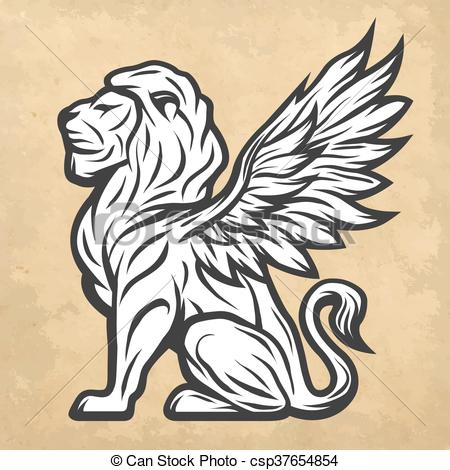 Clipart Vector of Lion statue with wings. Vintage style..