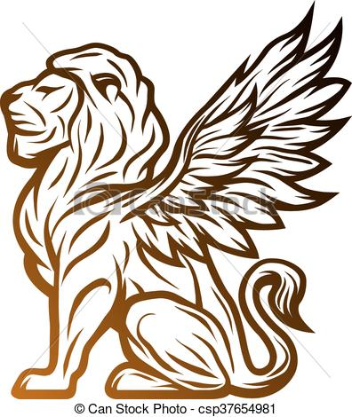 Vector of Mythological lion statue with wings. On a dark.