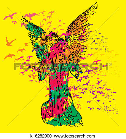 Clipart of statue wings birds and maria vector art k16282900.