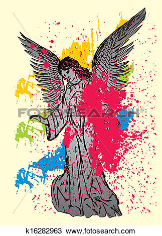 Clipart of statue wings birds and maria vector art k16282963.