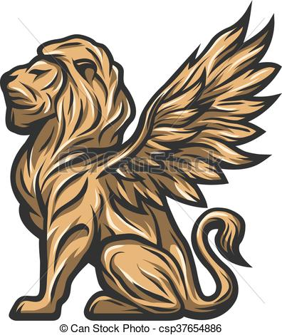 Vector of Golden statue of a lion with wings..