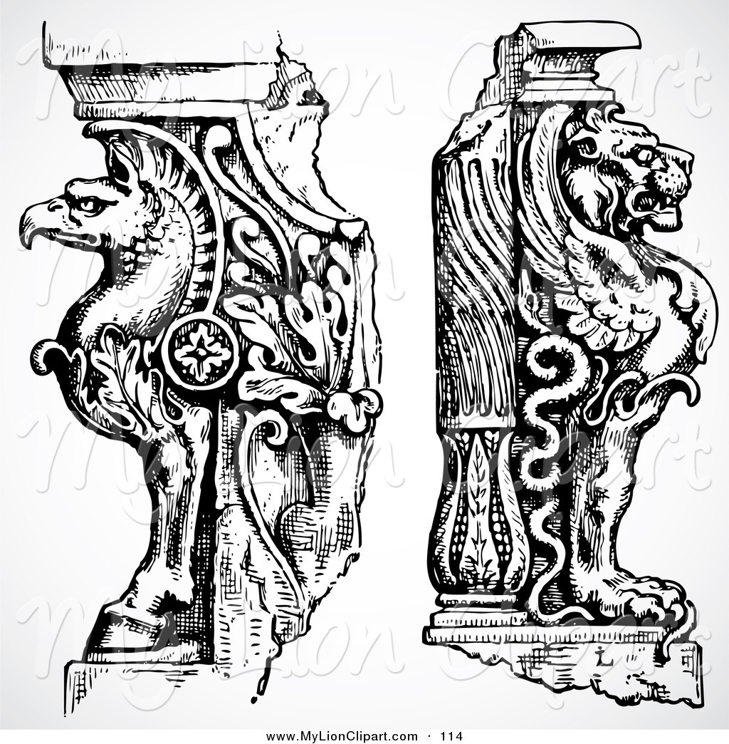 Royalty Free Stock Lion Designs of Statues.