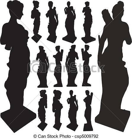 Vector Illustration of Ancient Statue Of Woman Silhouettes Vector.