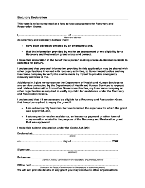 Statutory Declaration Form.