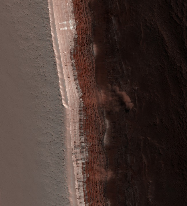 Free photo Mars Martian Surface Dust Cloud Avalanche.