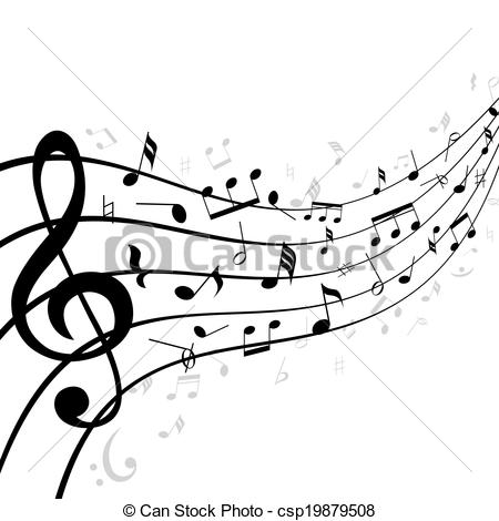 Vector Clipart of Music notes on a stave or staff consisting of.