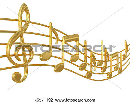 Clip Art of Music notes on staves k6571192.