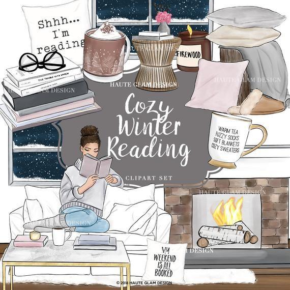 Cozy Winter Reading Clipart, Bookworm, Cozy Clip Art, Cozy.