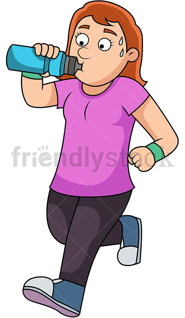 Woman Staying Hydrated While Running in 2019.