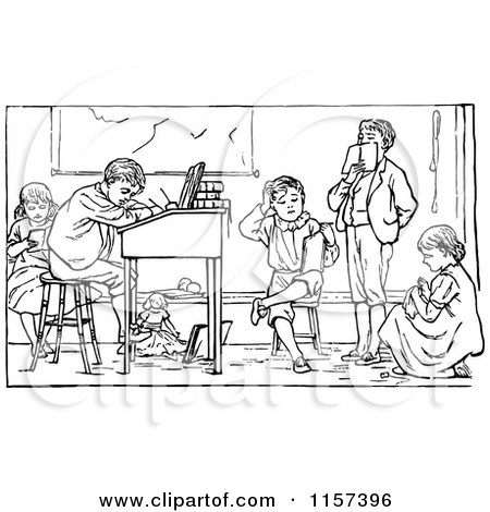 Clipart Vintage Black And White Victorian School Boy Writing At A.
