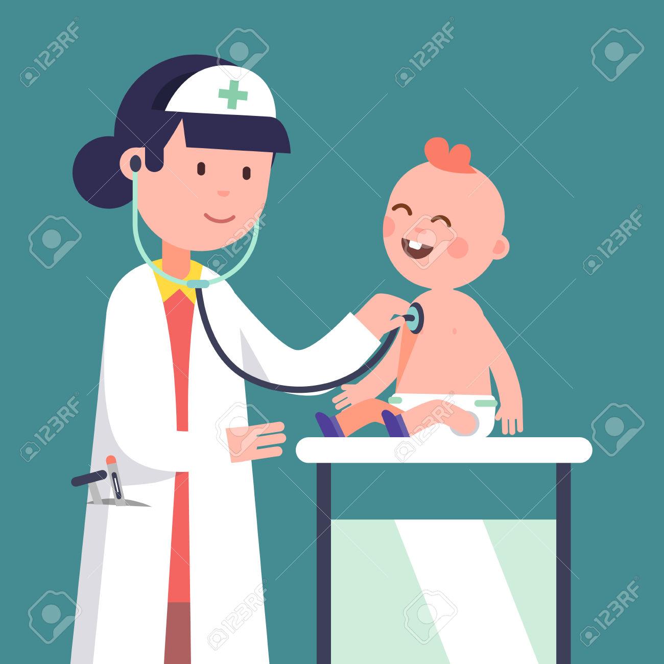 Pediatrician Doctor Woman Doing Medical Examination Of Baby Boy.