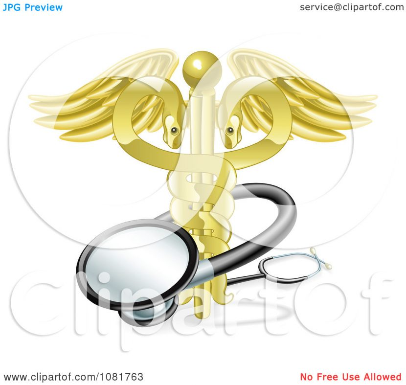 Clipart 3d Golden Snake Caduceus With A Stethoscope Royalty Free.