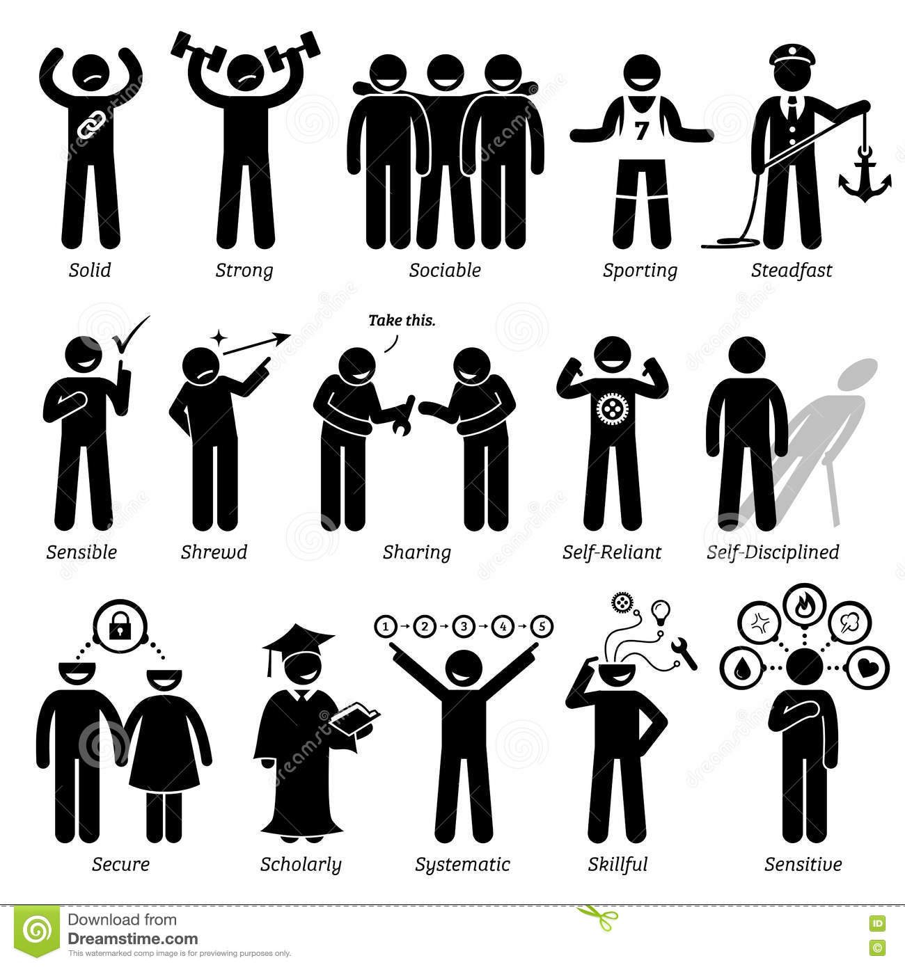 Positive Personalities Character Traits Clipart Stock Vector.