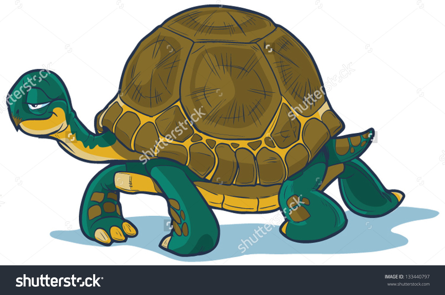 Vector Cartoon Tortoise Walking Forward Slow Stock Vector.