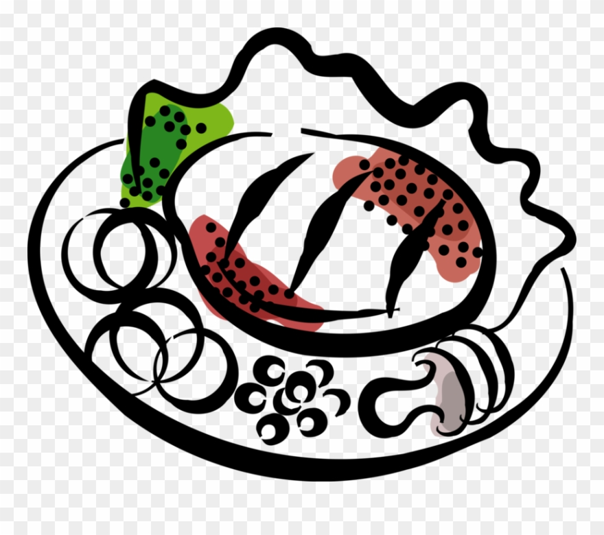 Vector Illustration Of Roast Beef Steak Dinner On Plate.