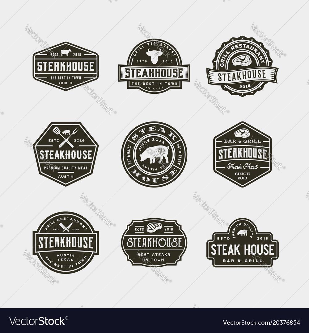 Set of vintage steak house logos.