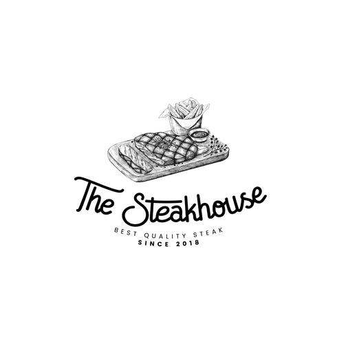 The steakhouse logo design vector.