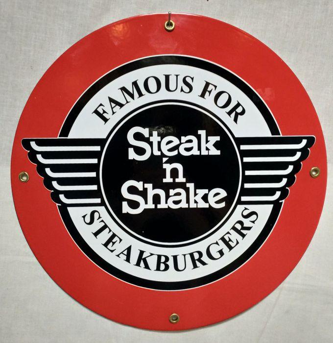 Steak \'N Shake Porcelain Sign.