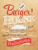 Poster Schriftzug Burger House stock.